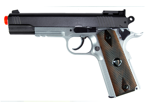 TSD Sports M1911-Tac Spring Power Airsoft Pistol (2-Tone w/ Wood Grips)